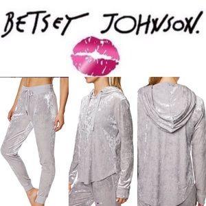Betsey Johnson Velvet Jogger Hoodie Set